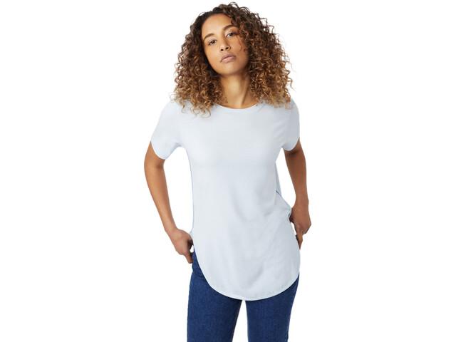tentree Cascade Camiseta Mujer, skyway blue micro stripe